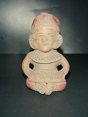 Pre-Columbian Mayan Antique Red Clay Terracotta Figure Statue Seated Man