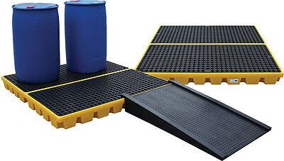4 Drum Oil & Chemical Bunded Drip & Spill Deck Workfloor Pallet