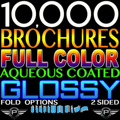 "10000 Brochures 9"" X 12"" Full Color Customized Double Sided 100Lb Glossy Folded"
