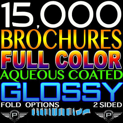 "15000 BROCHURE 11"" X 17"" FULL COLOR 2 SIDED 11x17 HI QUALITY 100LB GLOSSY FOLDED"