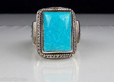 MODERN DESIGNER STERLING SILVER 925 TURQUOISE BAND RING bead and roped 16.5 gr