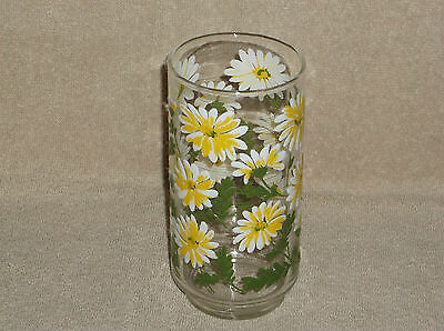 """Libbey Glass Clear Glass Tumbler with Raised Relief Daisies 5 1/2"""" Tumbler Glass"""