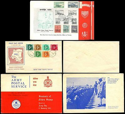 INDIA 1965 ARMY in VIETNAM + CONGO NEHRU SOUVENIR BOOKLET STAMPS + FDC