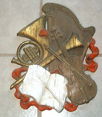HOMCO Universal Statuary 1972 Lg Wall Plaque Music Instruments Harp,Violin,Horn