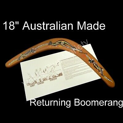"18"" Australian Made Returning Boomerang Kangaroo Crocodile Dot Aboriginal Design"