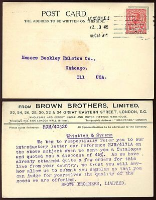 GB KG5 1912 DOWNEY PERFIN BROWN BROTHERS CARD to CHICAGO...CYCLES + MOTORS