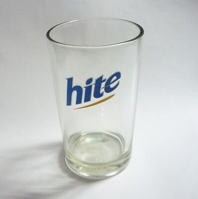 """HITE BEER Short BEER GLASS Clear Blue Logo SOUTH KOREA 4.5"""" Tall Asia Collect"""