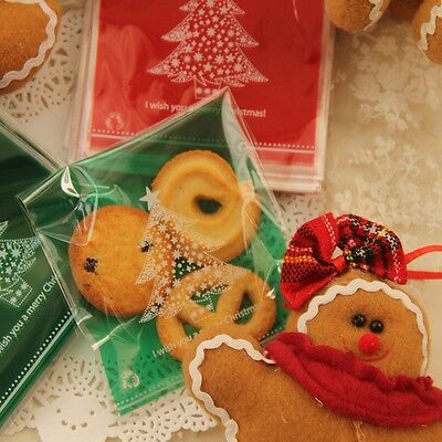 "20x ""Christmas Tree"" Self Adhesive Bags Cookies Macaron Lollies Chocolates Gift"