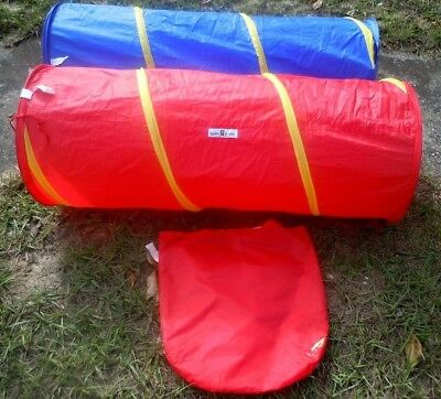 """2 Play Tunnels Toddler Indoor Outdoor Collapsible 45""""L x 19""""W Clean Bright EUC"""