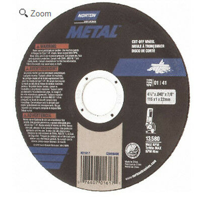 "Box/75 New Norton Metal Cutoff Wheels for Metal 4-1/2"" x .040"" x 7/8"" 01617"