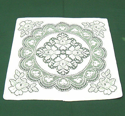 "Vintage Quaker Lace Doily Napkin Light Beige Cotton Floral Rose 18"" Square New"
