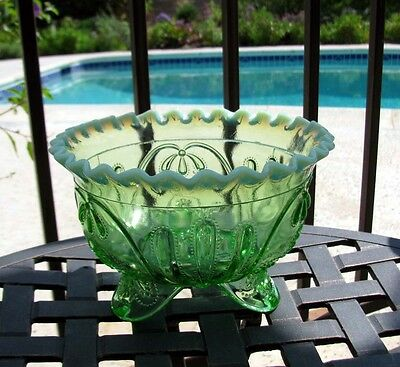 Jefferson MEANDER Green Opalescent Glass Bowl circa 1905