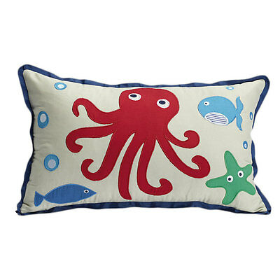 SEA CREATURES Embroidered Long Filled Cushion - Jiggle and Giggle