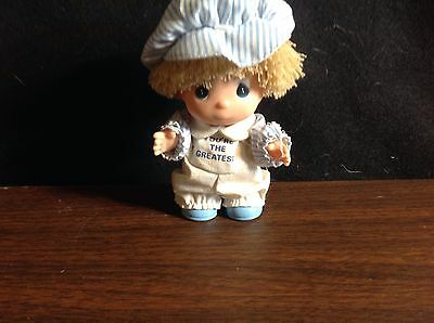 1989 Precious Moments Hi Babies  4 inch Girl Blue Hat You're The Greatest
