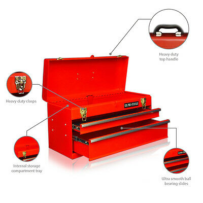 46 Us Pro Tools Portable Tool Chest Tool Box Red 2 Ball Bearing Drawers