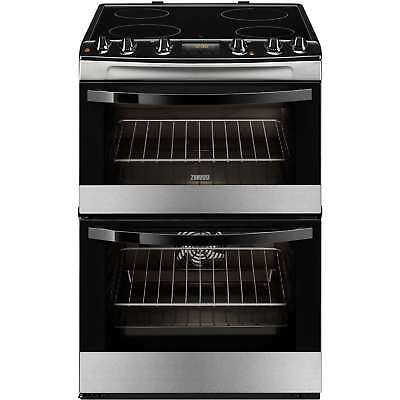 Zanussi ZCV68300XA Electric Double Oven Cooker with 4 Burners in Stainless Steel