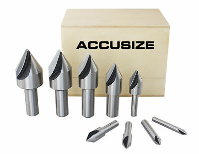 9 Pcs Single Flute HSS Countersink Set, 60 degree, Ground, #0245-0021