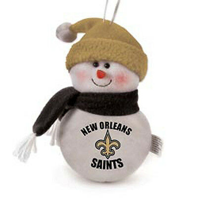 Team Snowman New Orleans Saints Plush Christmas Holiday Ornament BRAND NEW