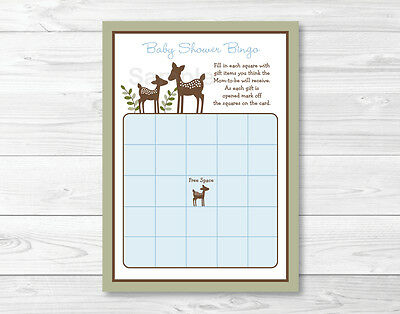 photograph regarding Printable Baby Shower Bingo identified as WILLOW DEER BLUE Printable Boy or girl Shower Bingo Playing cards