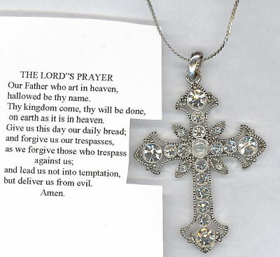 "The Lord's Prayer Rhinestone CROSS on 18"" Necklace"