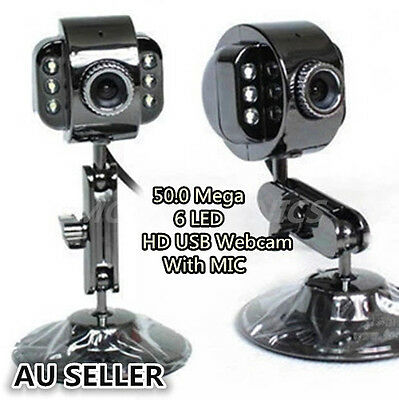 USB 50.0 Mega 6 LED HD Webcam Camera Web Cam with MIC for Computer PC Laptop