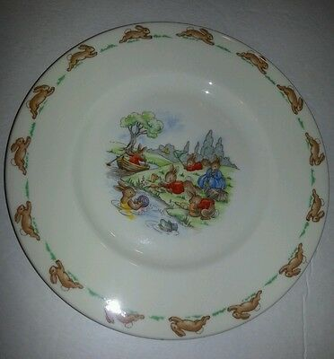 Vintage Royal Doulton Bunnykins Child's Plate Playing at the river Rare 1936