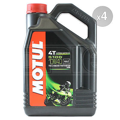 Motul 5100 10W-40 4T Motorcycle Engine Oil 10W40 4 x 5 Litres - 20 Litres