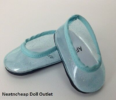 "Fits 18"" American Girl Doll Shoes Blue Clear Glitter Flats Jellies Slippers Elsa"