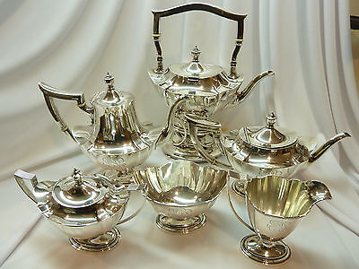 6 pc GORHAM PLYMOUTH STERLING SILVER COFFEE TEA SET & HOT WATER ~3598grams~