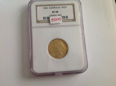 1862 Australia 1 Sovereign in NGC Holder