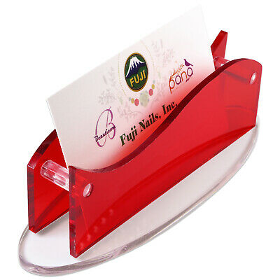 New CLEAR Red Acrylic Plastic Desktop Business Card Holder Display USA SHIP