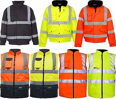 Hi Viz Vis Visibility Security Work Jacket Bodywarmer  Waterproof Padded Hooded