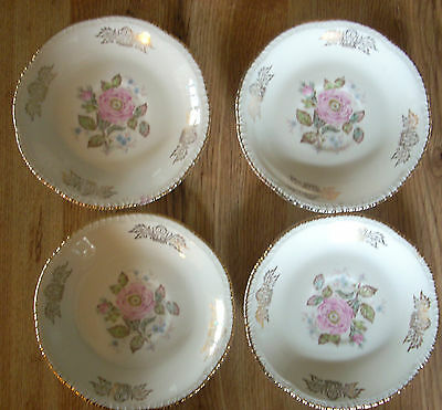 Vintage Homer Laughlin Queen Esther Pattern White 4 Saucer Plates- Gold Trim