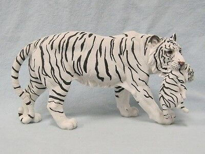 White Tiger Carrying Cub Figurine Statue