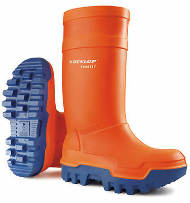 Dunlop Purofort Thermo Safety Wellington Boots Insulated Orange WELLIES
