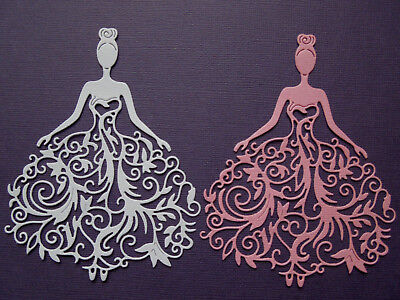 Lady in Lacy Dress  Die Cuts x 4 Scrapbooking Cardmaking Embellishment