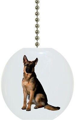 German Shepherd DOG Solid Ceramic Ceiling FAN Pull Light Lamp NEW