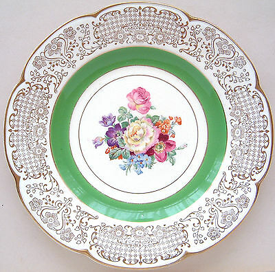 """Wood's Ivory Ware: Floral (5x3088): Dinner Plate: 1930's 10¾"""" Diameter"""