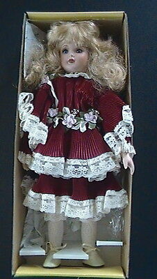 SEYMOUR MANN CONNOISSUER COLLECTION VICTORIAN RED DRESS PORCELAIN DOLL