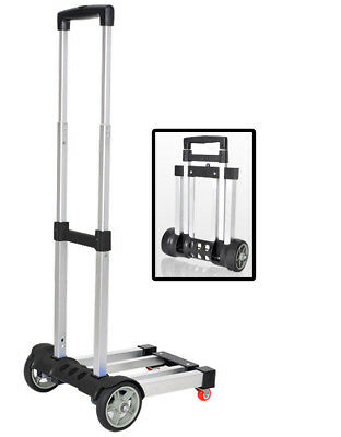 80kg LIGHTWEIGHT FOLDING TROLLEY LUGGAGE CART TRUCK airport boat warehouse black