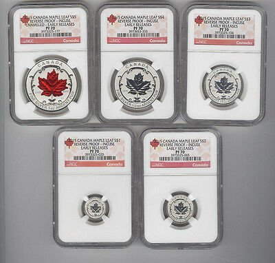 2015 CANADA REVERSE PROOF MAPLE LEAF 5 COIN SILVER SET INCUSE NGC PF 70 ER $1-$5