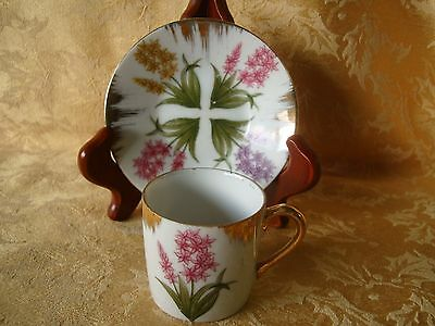 VINTAGE INARCO TEA CUP  AND SAUCERJAPAN PINK YELLOW PURPLE FLORAL GOLD RIM