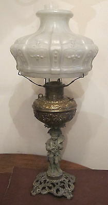 antique 1800's orante brass victorian oil burning figural table parlor lamp old