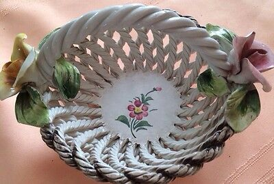 Vintage Capodimonte Made in Italy Painted Woven Pottery Basket pink roses 5 3/4