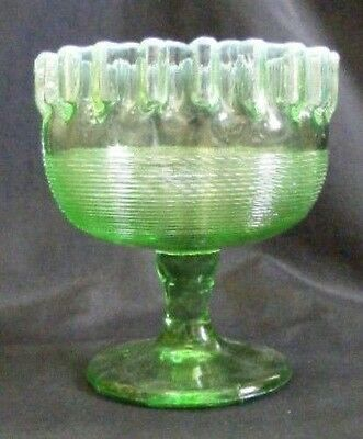 Green Opalescent Ribbed Ftd. Bowl