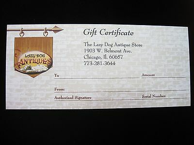 $100.00 Gift Certificate for The Lazy Dog Antique Store in Chicago- 10% Discount