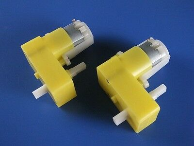 2pcs Biaxial DC Geared Motor Gear Motor Right-angle for Smart Car 1:120 3-6v
