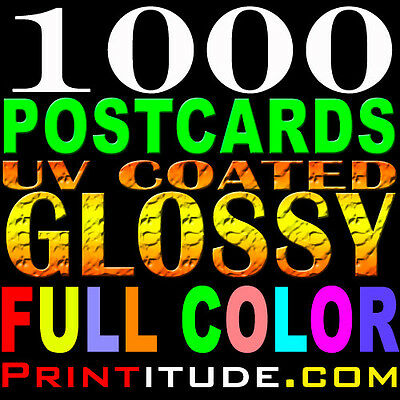 """1000 POSTCARDS 3"""" x 5"""" FULL COLOR 14PT GLOSSY 2 SIDED 3X5 POSTCARD +FREE Design"""