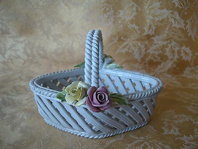 Vintage CAPODIMONTE Woven Ceramic Basket White with Pink and Yellow Roses Trim