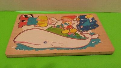 VINTAGE NURSERY RHYME WOODEN PUZZLE PINOCCHIO WHALE
